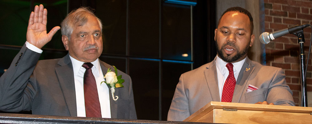 Sham Reddy is sworn in as president by Montgomery County Recorder Brandon McClain